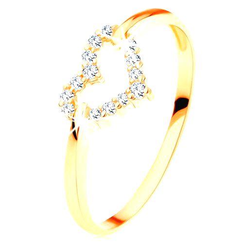 Prsteň v žltom 14K zlate - trblietavý obrys súmerného srdiečka - Veľkosť: 54 mm