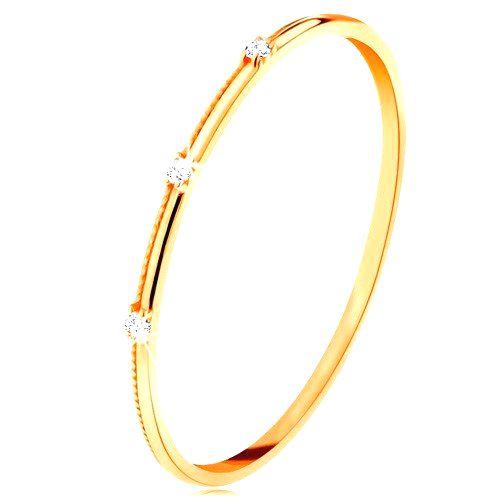 Prsteň v žltom 14K zlate - tri oddelené číre zirkóniky