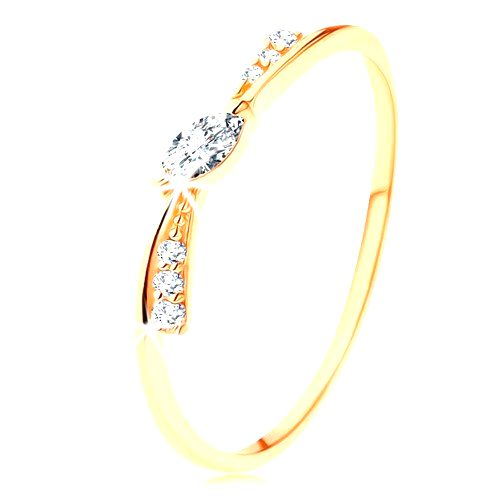 Prsteň v žltom 14K zlate - úzka mašlička zdobená čírymi zirkónmi - Veľkosť: 61 mm