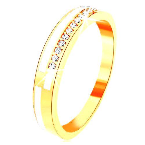 Prsteň v žltom 14K zlate - úzke línie z čírych zirkónikov a bielej glazúry - Veľkosť: 59 mm