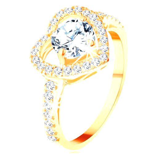 Prsteň v žltom 14K zlate - veľký ligotavý obrys srdca s okrúhlym zirkónom - Veľkosť: 65 mm