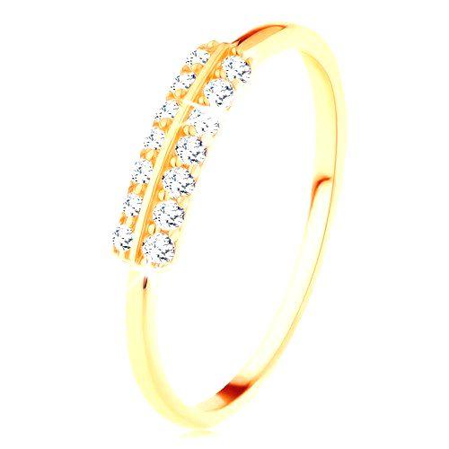 Prsteň v žltom 14K zlate - vodorovné zirkónové línie oddelené lesklým pásikom - Veľkosť: 60 mm