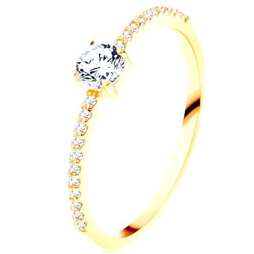 Prsteň v žltom 14K zlate - vystupujúci číry zirkón