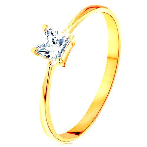 Prsteň v žltom 14K zlate - vystupujúci zirkónový štvorec