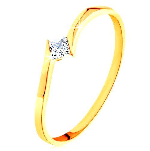 Prsteň v žltom 14K zlate - zahnuté konce ramien