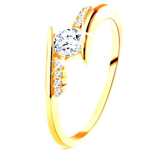 Prsteň v žltom 14K zlate - zahnuté ramená