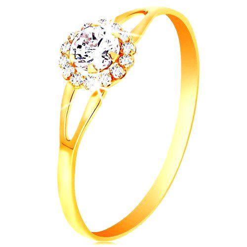 Prsteň v žltom 14K zlate - žiarivý kvietok z čírych zirkónov