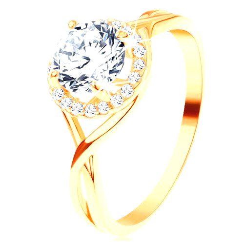 Prsteň v žltom 14K zlate - zvlnené prepletené línie