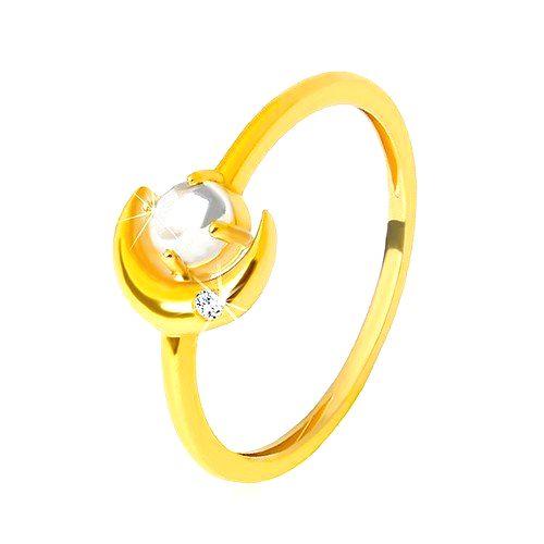 Prsteň v žltom 9K zlate - polmeciac so zirkónikom