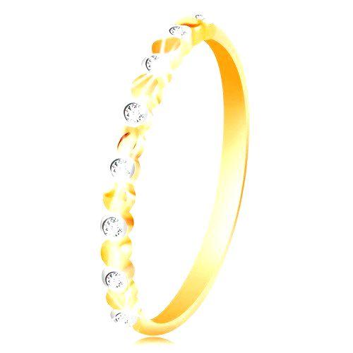 Prsteň v žltom a bielom zlate 585 - dvojfarebné kolieska a číre zirkóny - Veľkosť: 60 mm