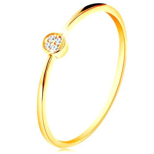 Prsteň v žltom zlate 585 - kruh vykladaný okrúhlymi zirkónmi čírej farby - Veľkosť: 59 mm
