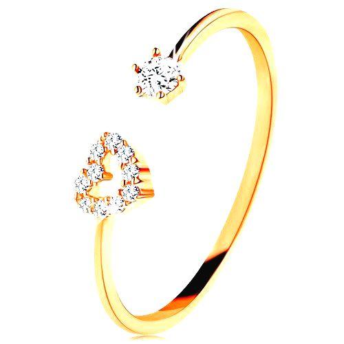 Prsteň v žltom zlate 585 - lesklé ramená ukončené obrysom srdca a čírym zirkónom - Veľkosť: 59 mm