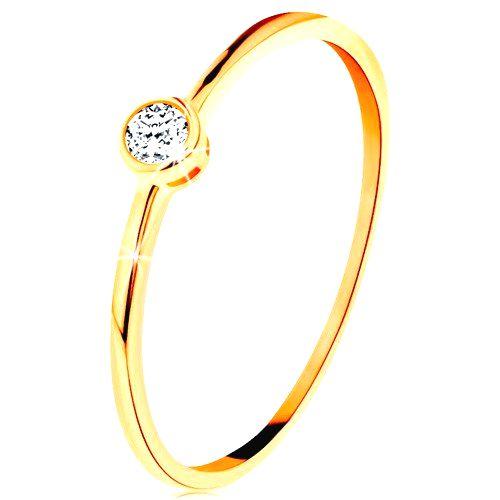 Prsteň v žltom zlate 585 - okrúhly číry zirkón v lesklej objímke - Veľkosť: 59 mm