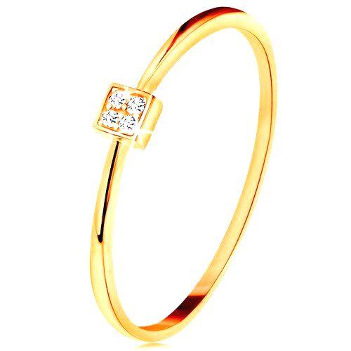 Prsteň v žltom zlate 585 - štvorček vykladaný okrúhlymi zirkónmi čírej farby - Veľkosť: 59 mm