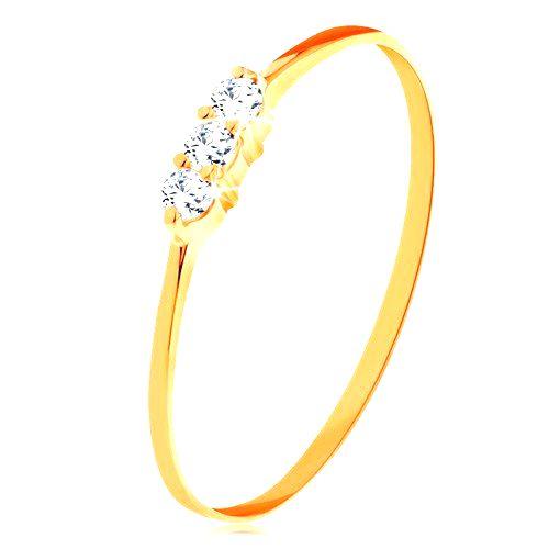 Prsteň v žltom zlate 585 - tenké lesklé ramená