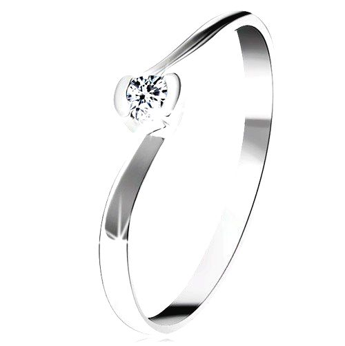 Prsteň z bieleho 14K zlata - číry diamant medzi zahnutými koncami ramien - Veľkosť: 59 mm