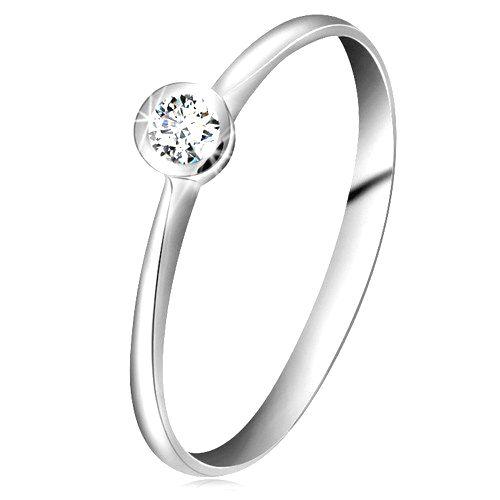 Prsteň z bieleho 14K zlata - ligotavý číry briliant v lesklej objímke
