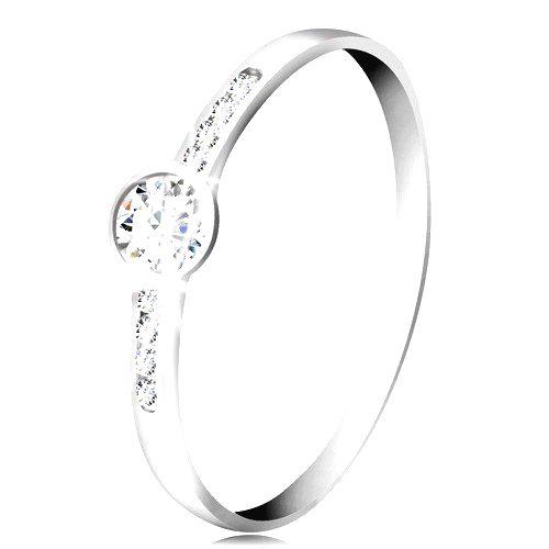 Prsteň z bieleho 14K zlata - okrúhly číry zirkón