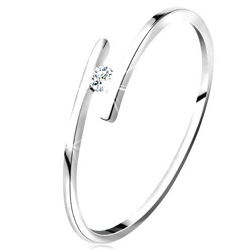 Prsteň z bieleho 14K zlata - tenké lesklé ramená