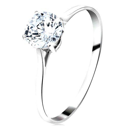 Prsteň z bieleho 14K zlata - veľký okrúhly zirkón čírej farby