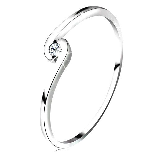 Prsteň z bieleho zlata 14K - okrúhly číry diamant medzi zahnutými ramenami - Veľkosť: 59 mm