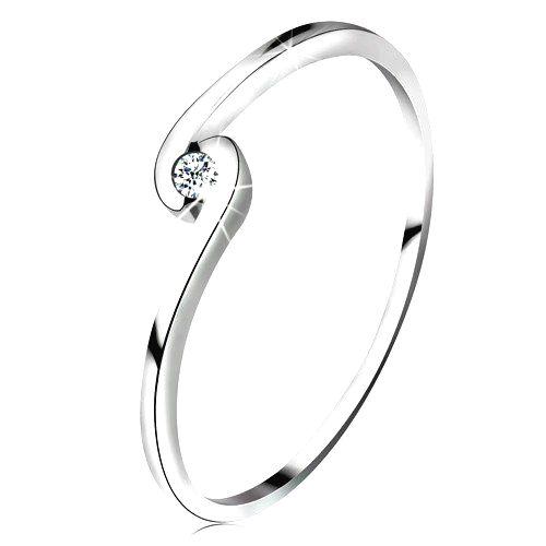 Prsteň z bieleho zlata 14K - okrúhly číry zirkón medzi zahnutými ramenami - Veľkosť: 59 mm
