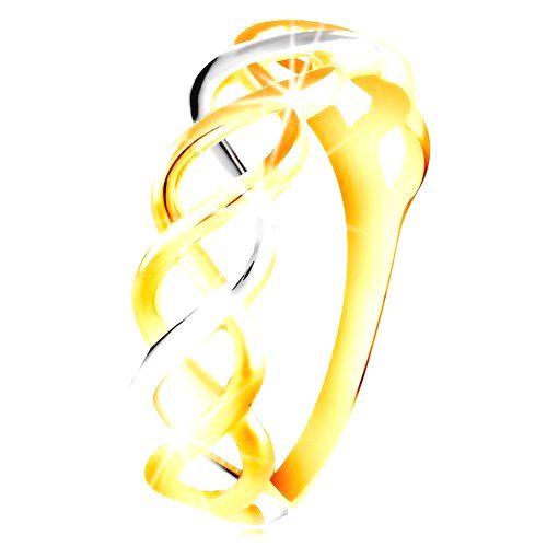 Prsteň z kombinovaného 14K zlata - prepletené dvojfarebné línie - Veľkosť: 60 mm