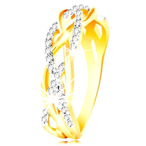 Prsteň z kombinovaného 14K zlata - prepletené hladké a zirkónové línie - Veľkosť: 57 mm