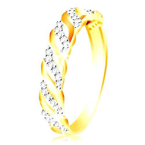 Prsteň z kombinovaného zlata 585 - hladké a zirkónové vlnky - Veľkosť: 49 mm