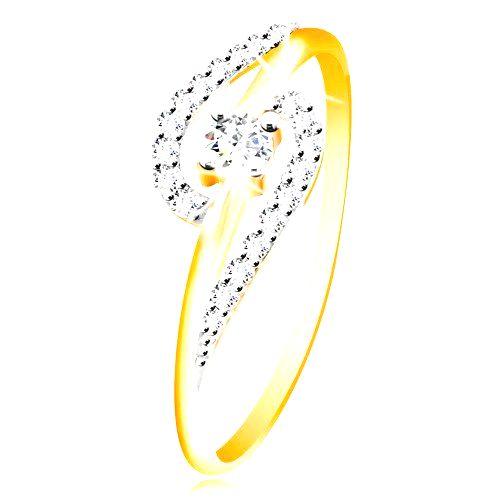 Prsteň zo 14K zlata - číre zirkónové oblúky