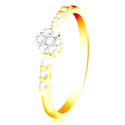 Prsteň zo 14K zlata - číry ligotavý kvietok