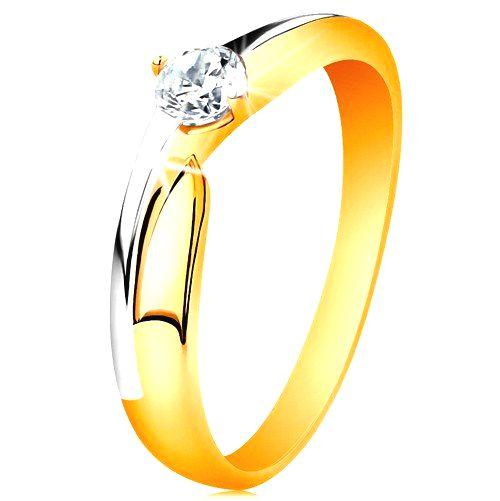 Prsteň zo 14K zlata - dvojfarebné ramená