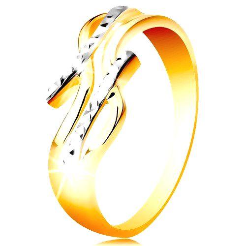 Prsteň zo 14K zlata - dvojfarebné