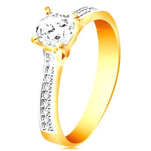 Prsteň zo 14K zlata - ligotavý okrúhly zirkón čírej farby