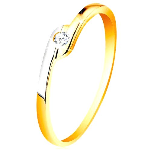 Prsteň zo 14K zlata - okrúhly číry zirkón