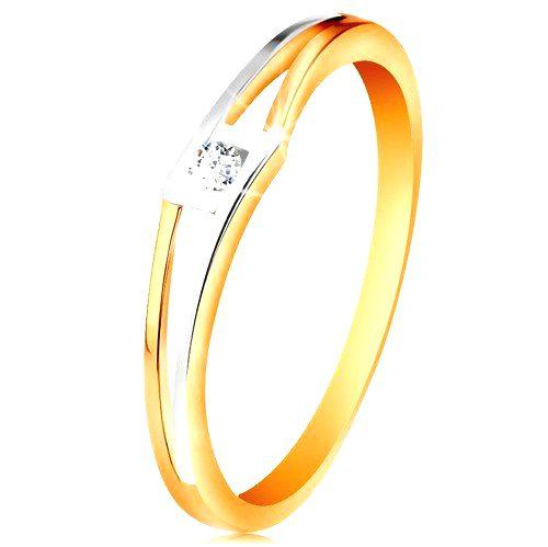 Prsteň zo 14K zlata - okrúhly číry zirkón v kosoštvorci
