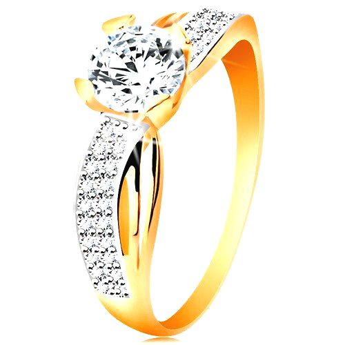Prsteň zo 14K zlata - okrúhly zirkón čírej farby