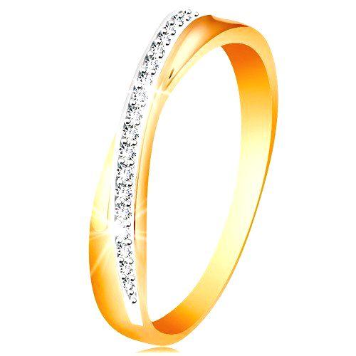 Prsteň zo 14K zlata - prekrížená hladká a trblietavá línia z čírych zirkónikov - Veľkosť: 56 mm
