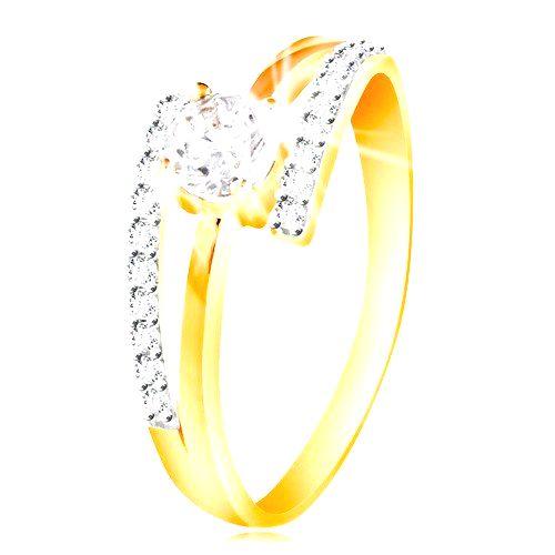 Prsteň zo 14K zlata - rozdvojené ramená