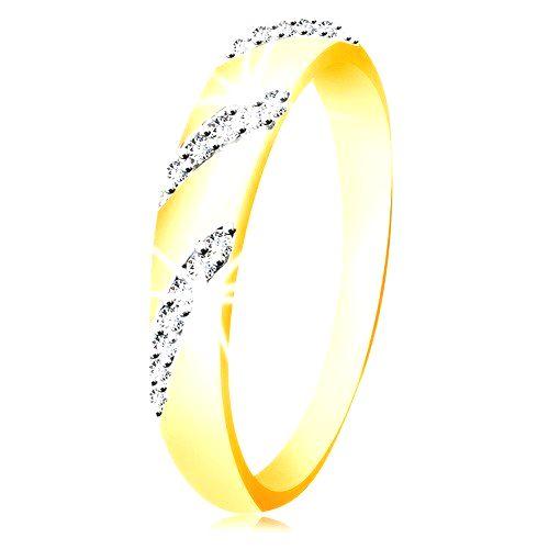 Prsteň zo 14K zlata so zaobleným povrchom a šikmými líniami zirkónov - Veľkosť: 60 mm