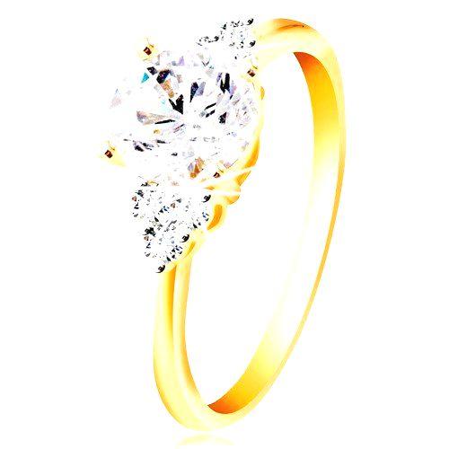 Prsteň zo 14K zlata - veľký číry zirkón v strede