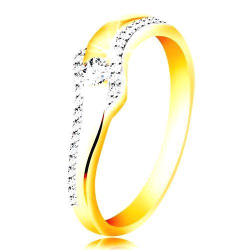 Prsteň zo 14K zlata - vlnka s čírym zirkónom a trblietavými líniami po stranách - Veľkosť: 60 mm