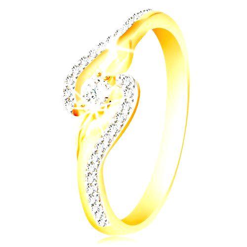 Prsteň zo 14K zlata - zahnuté konce ramien