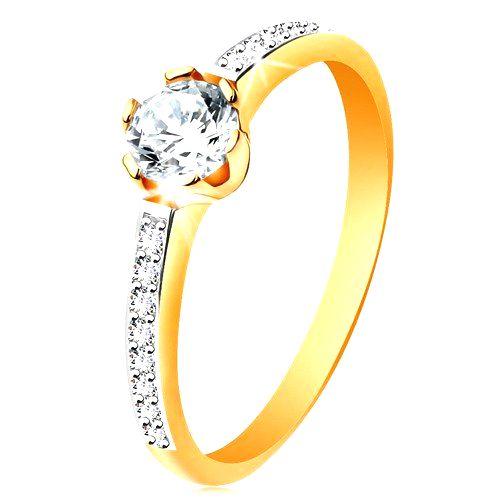 Prsteň zo 14K zlata - žiarivý okrúhly zirkón čírej farby