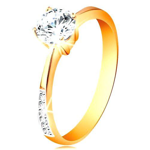 Prsteň zo 14K zlata - zúžené ramená so zirkónovými líniami