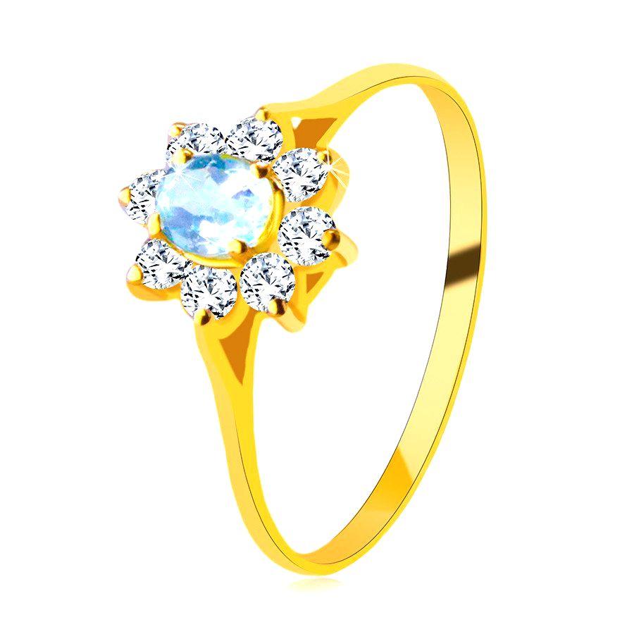 Prsteň zo 14K žltého zlata - oválny topás