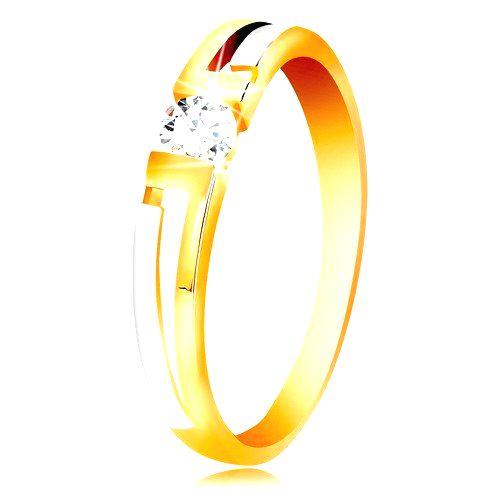 Prsteň zo zlata 585 - dvojfarebné ramená