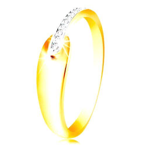 Prsteň zo zlata 585 - lesklá oblá slza a trblietavý pás z čírych zirkónikov - Veľkosť: 51 mm
