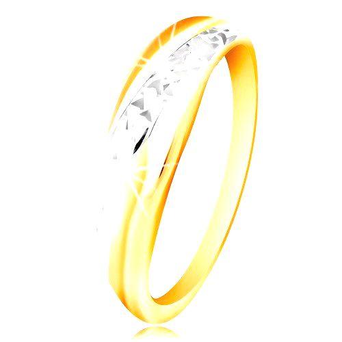 Prsteň zo zlata 585 - línie z bieleho a žltého zlata