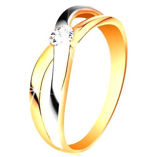 Prsteň zo zlata 585 - okrúhly zirkón čírej farby